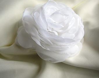 White Wedding Hair Accessories -  White Hair Piece - Rose Peony Flower - White Hairpiece - Bridal Hair Clip - Simple Wedding Hair Flower