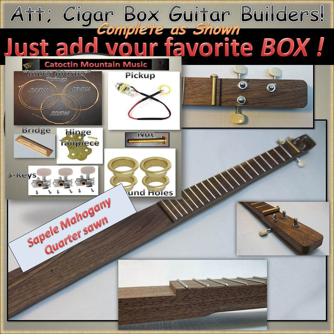 Cigar Box Guitar Kit with Black Walnut Neck by ...