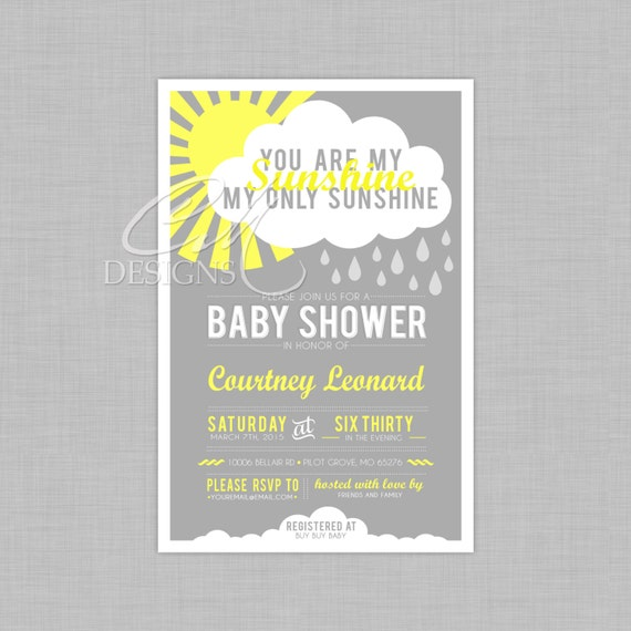 you are my sunshine baby shower invite by designsbycassiecm