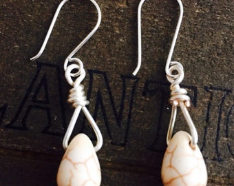 White Magnesite earrings,  white turquoise earrings, wire wrapped white Magnesite earrings