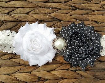 Black and white shabby flower headband