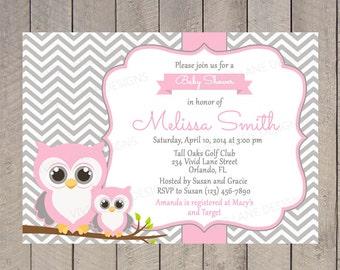 Owls Baby Shower Invitation, Printable, Girl  Baby Shower, Pink  and Grey, Mom and baby Owl, Printable - 220