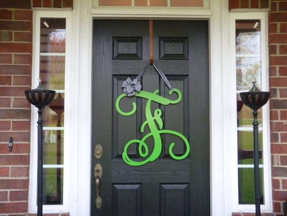 Initial monogram front door wreath metal by for Metal letters for front door