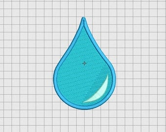 Water Droplet Mini Embroidery Design in 1x1 2x2 3x3 4x4 5x5 and 6x6 Sizes