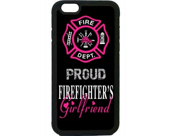 Firefighter Fireman Girlfriend Case Cover for iPhone 4 4s 5 5s 5c 6 6s 6 Plus iPod Touch Black