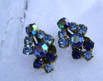Earrings Vintage Blue Sapphire Rhinestone Retro Mothers Day Clip On Prom Wedding Bride Birthday  Glitter Glam 50s Mad Men Jewelry