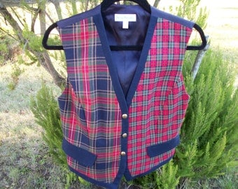 a STEAMPUNK DUELING Plaids Ladies Vest with Gold Designed Buttons Size 4, A Delightful Piece
