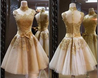Golden prom dress , golden eveninbg dress , prom dress short , evening dress short , party dress