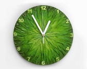 GREEN CLOCK with numbers, Unique Wall Clock, Art Wall Clock, green home decor, green wall clock, modern wall clock, Pantone 2017