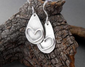 Silver Heart Earrings, Sterling Silver Earrings, Silver Earrings, Rustic Earrings, Minimalist Earrings, Dangle Earrings, Drop Earrings
