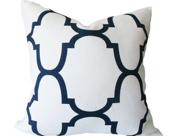 Windsor Smith Indigo Moroccan Riad Decorative Pillow Cover - Kravet - Throw Pillow - Toss Pillow - Solid Linen Back - All Sizes Available