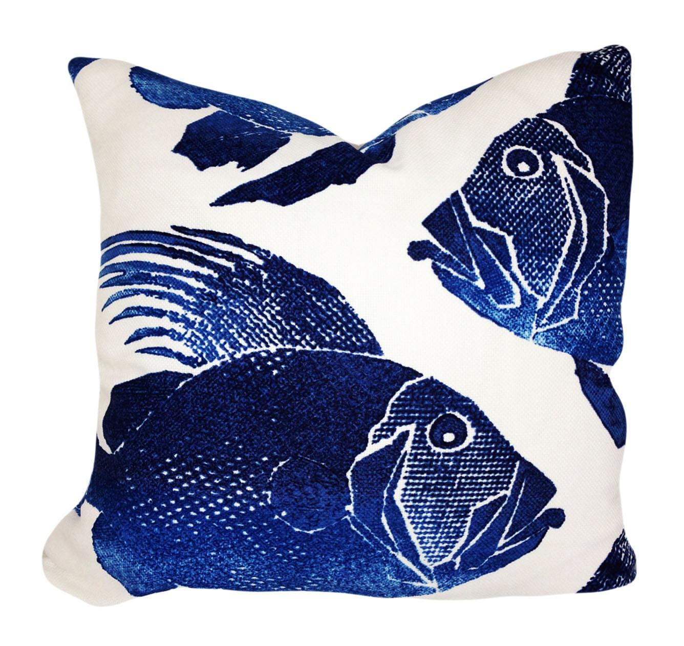 Navy blue fish outdoor throw pillow cover by pillowtimegirls for Fish throw pillows