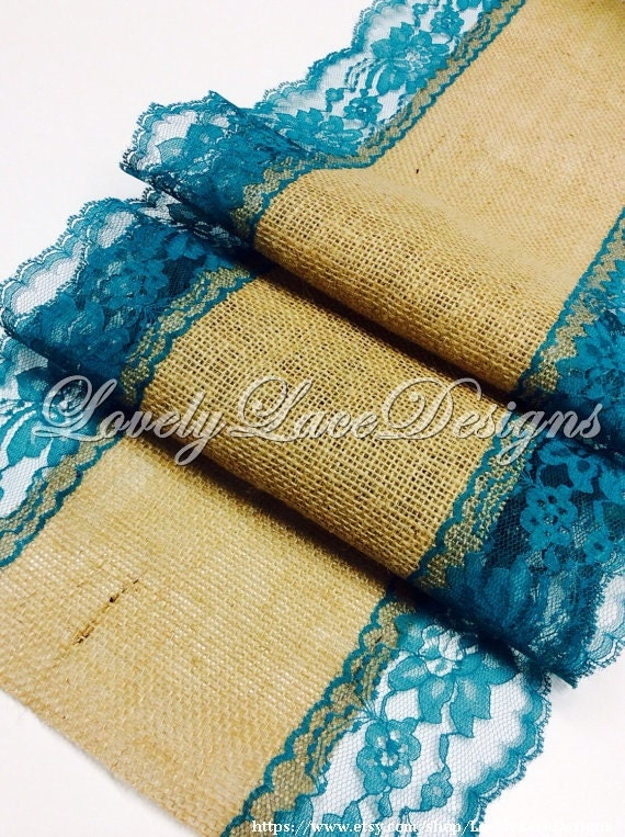Burlap Table Runner Teal Green Lace 3ft 10ft By