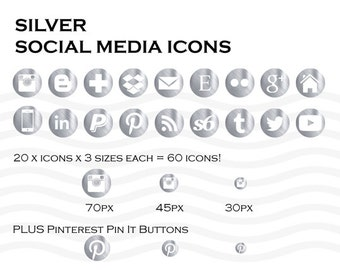 Social Media Icons 60 Metallic Silver - Instant Download