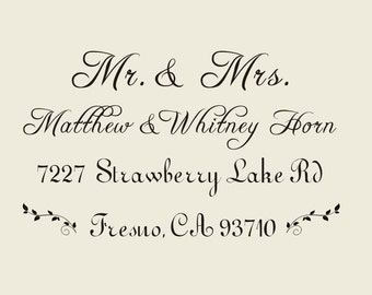 "CUSTOM Mr. and Mrs. rubber stamp (2.1"" x1.6"" ) - Wedding Return Address Stamp - custom family return address  -custom return address stamp"