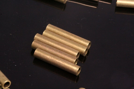 20 pcs 5 x 25 mm (hole 3.8 mm) raw brass tube industrial brass charms,findings raw brass spacer bead