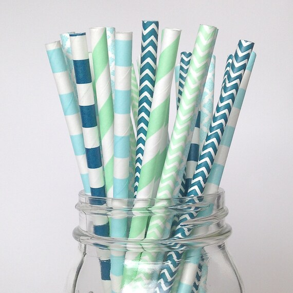 decorative straws for weddings boy baby shower straws boy decor mint green straws 3463