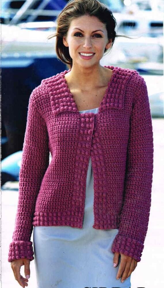 Ladies Crochet Cardigan Vintage Pattern Pdf Instant Download