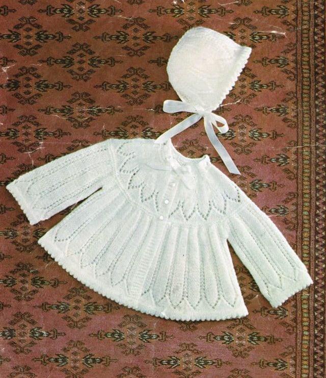 Baby matinee coat and bonnet set vintage knitting pattern PDF