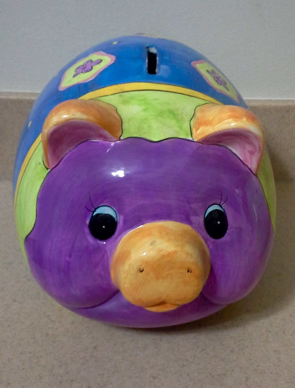 Large Ceramic Piggy Bank Vintage Piggy Bank Pig By