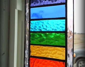 Stained Glass Chakra Rainbow Suncatcher, Stained Glass Window, Chakra Suncatcher
