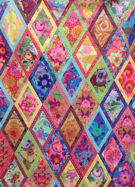 "BORDERED DIAMOND Quilt Fabric Pack  56""x80""  - Kaffe Fassett  and Philip Jacobs fabrics"