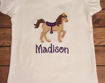 Purple Saddle Horse Cowgirl Shirt or Baby Bodysuit
