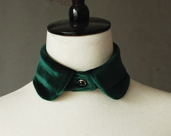Handmade Women's Vintage Velvet Peter Pan Fake Detachable collar Necklace Choker Tie Green free shipping