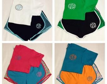 Monogram T-shirt and Monogram Shorts Set, Monogram Running/Athletic Shorts and Shirt