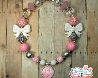 Personalized Bubblegum Bead Necklace, Customized Gumball Necklace & Hairbow set, Pink, White, Silver, Custom Bottlecap Pendant, Custom Name