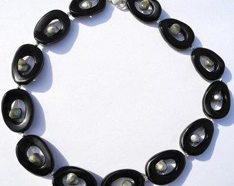 Comet's Tail - Necklace Onyx and Designer Pearls, black and gold necklace, olive pearls, statement necklace, ooak, pearl necklace