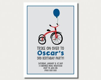 3rd Birthday Invitation - Trike - Boys Invitation