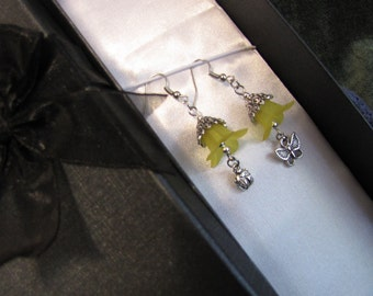 Silver and Yellow Bell Flower Earrings - Item Number - 5217