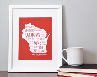Wisconsin Inspired - On, Wisconsin! - Typography Poster - Poster Print - Holiday Gift