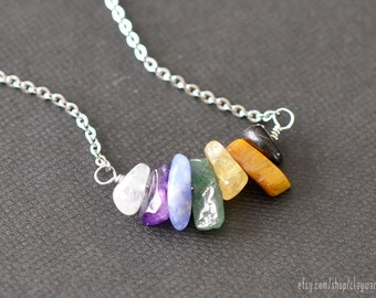 Chakra Necklace - 7 Chakra Pendant - Healing Necklace - Chakra Crystals - Energy Jewelry - Chakra Jewelry - Yoga Jewelry - Gemstone Necklace