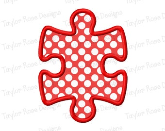 Puzzle Piece 2 Applique Machine Embroidery Design 4x4 5x7 6x10 Autism Awareness INSTANT DOWNLOAD