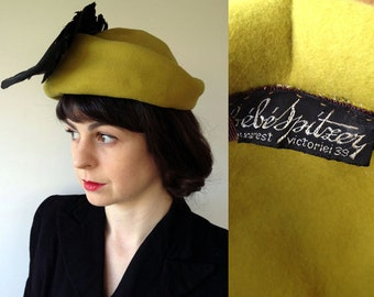 1930s Lime Green 'Bebe Spitaey, Bucharest' Rake Hat with Feathers