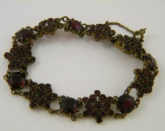 Antique Garnet Bracelet Victorian Bohemian Garnet Bracelet