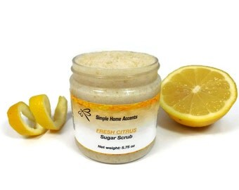 Citrus Sugar Scrub, 8 oz Vegan Sugar Scrub, Exfoliating Scrub, Citrus Body Scrub, Gift under 20