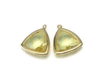 Jonquil Triangle Glass Pendant . Jewelry Craft Supplies . 16K Polished Gold Plated over Brass  / 2 Pcs - CG034-PG-JQ