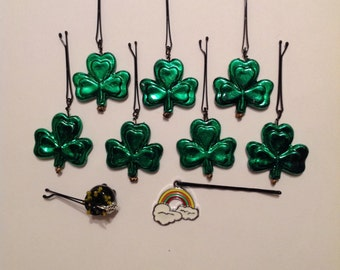 Beard Art Baubles St Patrick's Day Shamrock Hipster Gift Set of 9 High Gloss Handmade Baubles with Ultra Mini Pins