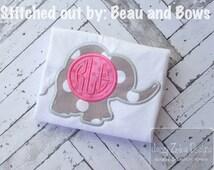 Elephant Monogram Applique Design