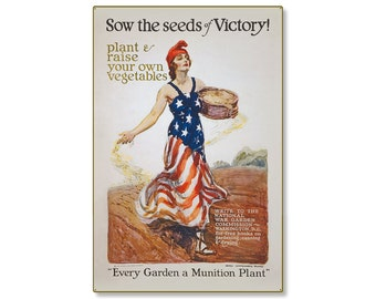 Sow The Seeds Of A Victory Garden WW1 Large Metal Wall Decor Vintage World War 1 Propaganda Poster Art 24x36 STEEL Sign [not tin ]R000022-12