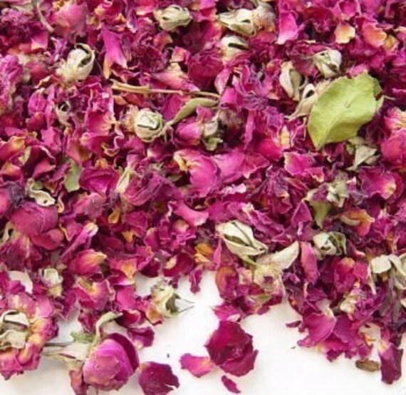 DRIED ROSE PETALS - 2 Cups - Tea Potpourri Soap Wedding Organic Herbal ...