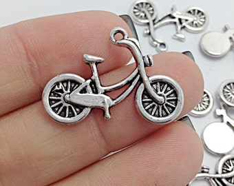10 Bicycle Charms, Bike Charms, Silver Bicycling Charm (1-1168)