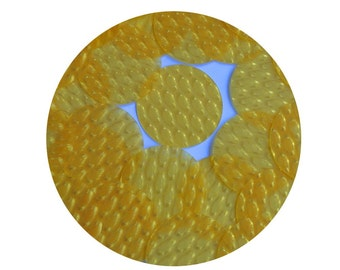 3D Golden Yellow Round 1.5 inch Dimensional Reflector Loose Sequin Paillette. Made in USA.