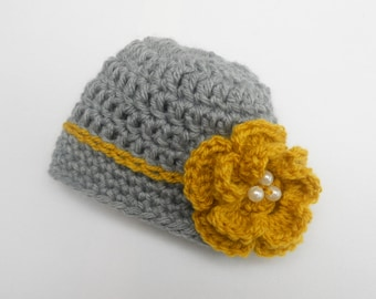 Crochet Baby Hat with Flower, Crochet Infant Hat for Girls, Newborn Girl Hat, Baby Girl Hat, Baby Girl Clothes, Newborn Girl Photo Prop,Grey