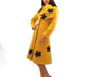 Yellow Elegant Coat / Retro Elegant Coat / Wool Winter Coat