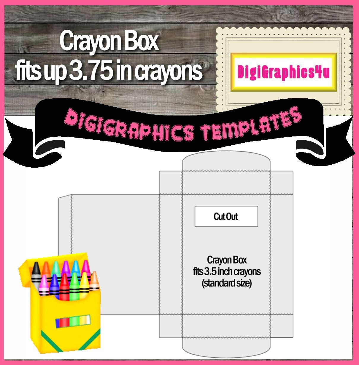Crayon box template instant download png format digital for Crayon label template