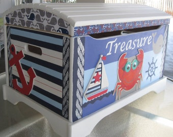 Large Hand Painted Nautical Toy Chest, Sailboat Toy Chest, Crab Chest, Star Fish Toy Chest, Red White & Blue Toy Chest, Whale Chest
